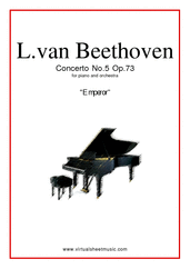 Concerto Op.73 No.5 'Emperor' for piano and orchestra - ludwig van beethoven concerto sheet music