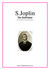 Cover icon of The Entertainer (parts) sheet music for brass quartet, version 2 by Scott Joplin, classical score, intermediate skill level