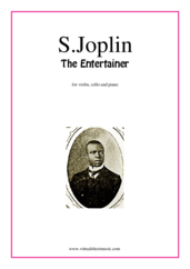 The Entertainer for violin, cello and piano - jazz cello sheet music
