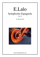 Cover icon of Symphonie Espagnole Op.21 sheet music for violin and piano by Edouard Lalo, classical score, advanced skill level