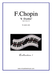 Cover icon of Etudes Op.10 No.1-6 sheet music for piano solo by Frederic Chopin, classical score, advanced skill level