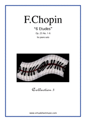Cover icon of Etudes Op.25 No.1-6 sheet music for piano solo by Frederic Chopin, classical score, advanced skill level