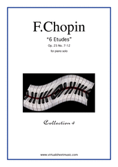 Cover icon of Etudes Op.25 No.7-12 sheet music for piano solo by Frederic Chopin, classical score, advanced skill level