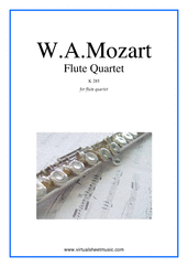 Flute Quartet K285 (parts) for flute, violin, viola and cello - classical flute quartet sheet music