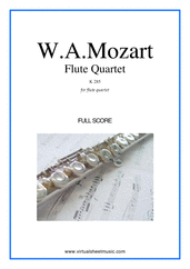 Cover icon of Flute Quartet K285 (COMPLETE) sheet music for flute, violin, viola and cello by Wolfgang Amadeus Mozart, classical score, intermediate skill level