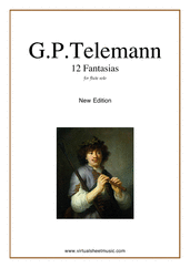 Fantasias, 12 for flute or alto flute solo - easy georg philipp telemann sheet music