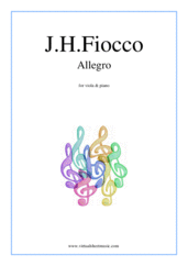 Cover icon of Allegro sheet music for viola and piano by Joseph Hector Fiocco, classical score, easy skill level
