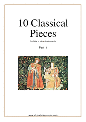 10 Classical Pieces collection 1 (New Edition) for flute solo or other instruments - classical recorder sheet music