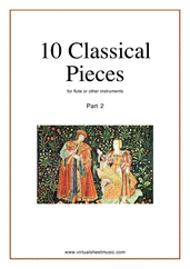 Cover icon of 10 Classical Pieces collection 2 sheet music for flute solo or other instruments, classical score, easy flute or other instruments