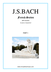 Cover icon of French Suites, part I sheet music for piano solo (or harpsichord) by Johann Sebastian Bach, classical score, intermediate piano (or harpsichord)