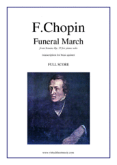 Cover icon of Funeral March (f.score) sheet music for brass quintet by Frederic Chopin, classical score, intermediate skill level