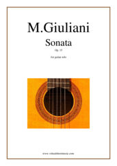 Cover icon of Sonata Op.15 sheet music for guitar solo by Mauro Giuliani, classical score, intermediate skill level