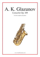 Concerto Op. 109 for alto saxophone and piano - intermediate alto saxophone sheet music