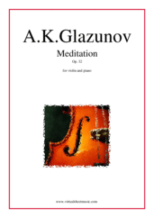 Cover icon of Meditation Op. 32 sheet music for violin and piano by Alexander Konstantinovich Glazunov, classical score, intermediate skill level