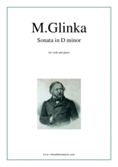 Cover icon of Sonata in D minor sheet music for viola and piano by Mikhail Glinka, classical score, advanced skill level