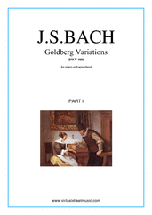 Cover icon of Goldberg Variations, part I sheet music for piano solo (or harpsichord) by Johann Sebastian Bach, classical score, intermediate/advanced piano (or harpsichord)