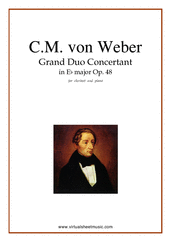 Cover icon of Grand Duo Concertant Op.48 sheet music for clarinet and piano by Carl Maria Von Weber, classical score, intermediate/advanced skill level