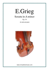 Cover icon of Sonata in A minor Op. 36 sheet music for cello and piano by Edvard Grieg, classical score, advanced skill level