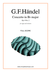 Cover icon of Concerto in Bb major Op.4 No.2 (f.score) sheet music for organ and orchestra by George Frideric Handel, classical score, intermediate/advanced skill level