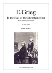 Cover icon of In the Hall of the Mountain King (f.score) sheet music for brass quintet by Edvard Grieg, classical score, intermediate skill level