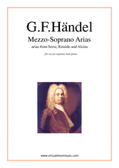 Cover icon of Mezzo Soprano Arias sheet music for mezzo soprano and piano by George Frideric Handel, classical score, intermediate skill level