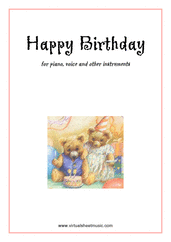 free Happy Birthday for piano, voice or other instruments - free easy sheet music