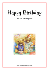 Cover icon of Happy Birthday sheet music for alto saxophone and piano, classical score, easy skill level