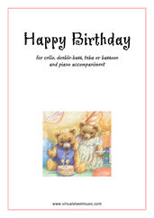 Cover icon of Happy Birthday sheet music for cello or other instruments and piano, classical score, easy skill level