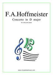 Cover icon of Concerto in D major sheet music for viola and piano by Franz Anton Hoffmeister, classical score, intermediate/advanced skill level