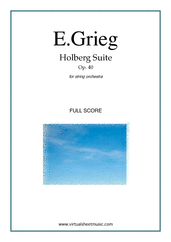 Cover icon of Holberg Suite Op.40 (COMPLETE) sheet music for string orchestra by Edward Grieg, classical score, intermediate skill level