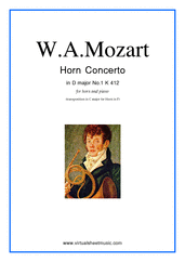 Cover icon of Concerto No.1 K412 (transposed in C major) sheet music for horn and piano by Wolfgang Amadeus Mozart, classical score, intermediate skill level