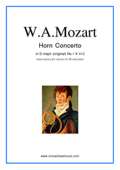 Cover icon of Concerto No.1 K412 (for clarinet) sheet music for clarinet and piano by Wolfgang Amadeus Mozart, classical score, intermediate skill level