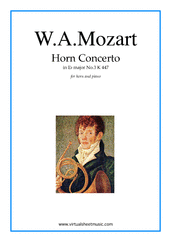 Cover icon of Concerto No.3 K447 in Eb major sheet music for horn and piano by Wolfgang Amadeus Mozart, classical score, intermediate skill level
