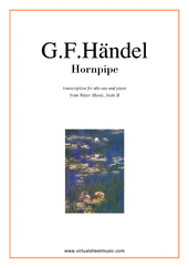 Cover icon of Hornpipe from Water Music sheet music for alto saxophone and piano by George Frideric Handel, classical wedding score, easy/intermediate skill level