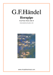Cover icon of Hornpipe from Water Music sheet music for piano solo by George Frideric Handel, classical wedding score, easy/intermediate skill level