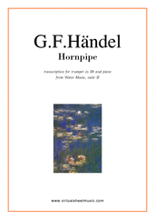 Cover icon of Hornpipe from Water Music (in C, trumpet in Bb) sheet music for trumpet and piano by George Frideric Handel, classical wedding score, easy/intermediate skill level