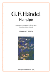 Cover icon of Hornpipe from Water Music (in D, trumpet in Bb) sheet music for trumpet and piano by George Frideric Handel, classical wedding score, intermediate skill level