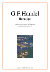Cover icon of Hornpipe from Water Music (in C, trumpet in C) sheet music for trumpet and piano by George Frideric Handel, classical wedding score, intermediate skill level
