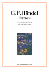 Cover icon of Hornpipe from Water Music sheet music for violin and cello by George Frideric Handel, classical wedding score, easy/intermediate duet