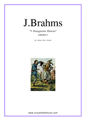 Cover icon of Hungarian Dances (collection 1) sheet music for piano four hands by Johannes Brahms, classical score, intermediate skill level
