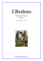 Cover icon of Hungarian Dances (COMPLETE) sheet music for alto saxophone and piano by Johannes Brahms, classical score, intermediate skill level
