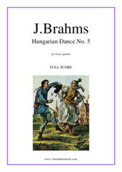 Cover icon of Hungarian Dance No. 5 (f.score) sheet music for brass quintet by Johannes Brahms, classical score, intermediate skill level