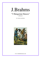 Cover icon of Hungarian Dances (collection 1) sheet music for clarinet and piano by Johannes Brahms, classical score, intermediate skill level