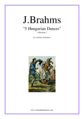 Cover icon of Hungarian Dances (collection 2) sheet music for clarinet and piano by Johannes Brahms, classical score, intermediate skill level