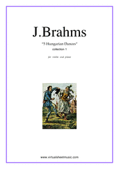 Cover icon of Hungarian Dances (collection 1) sheet music for violin and piano by Johannes Brahms, classical score, intermediate skill level