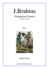 Cover icon of Hungarian Dances (original version, part I) sheet music for violin and piano by Johannes Brahms, classical score, intermediate/advanced skill level
