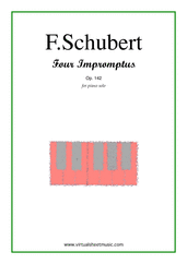 Cover icon of Four Impromptus Op.142 sheet music for piano solo by Franz Schubert, classical score, advanced skill level