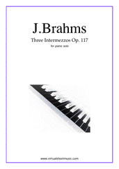 Cover icon of Intermezzos, 3 Op.117 sheet music for piano solo by Johannes Brahms, classical score, advanced skill level