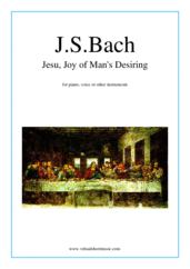 Cover icon of Jesu, Joy of Man's Desiring sheet music for piano, voice or other instruments by Johann Sebastian Bach, classical wedding score, easy skill level