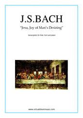 Cover icon of Jesu, Joy of Man's Desiring sheet music for flute, horn and piano by Johann Sebastian Bach, classical wedding score, intermediate skill level